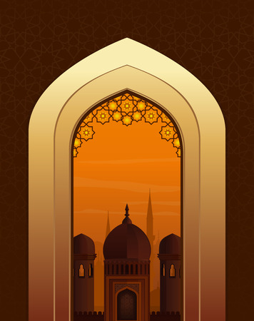 Ramadan Kareem beautiful greeting card. View of the Arab city through the arch at the mosque. Vector illustration