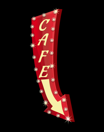 Retro neon sign for cafe on black background. Glowing arrow. American advertisement style. Vector illustration 일러스트