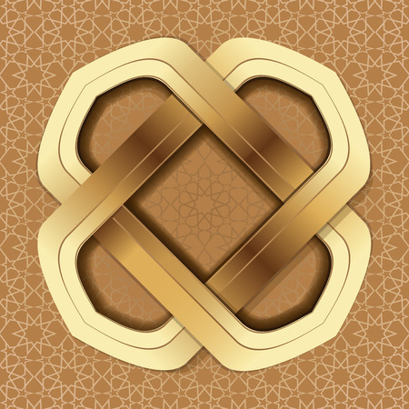 Golden frame on the background of the Arab ornament. Elegant Islamic template design on a brown Arabic background.