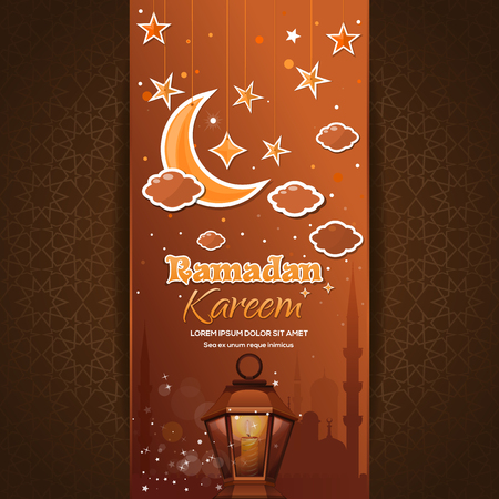 Greeting card for the holy month of Ramadan. Ramadan Kareem. Greeting card with a moon, stars, mosque and arabic lamp. Vector illustration