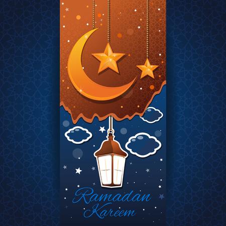 Ramadan Kareem background. Moon, stars, arabic lantern on a blue background with traditional arabic pattern. Greeting card for holy month of Ramadan. Vector illustration Иллюстрация