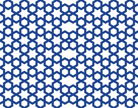 Seamless pattern in the Islamic style. Seamless geometric girih pattern. Blue seamless stellar pattern on a white background. Vector illustration