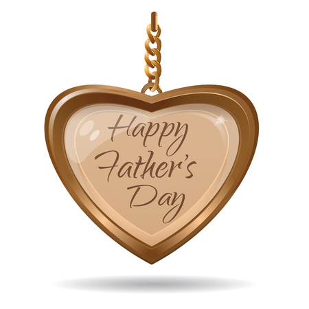 Fathers Day card. Golden heart and greeting inscription. Gold medallion in the shape of a heart with an inscription - Happy Fathers Day. Vector illustration