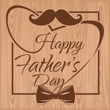 Happy Father's Day. Father's Day symbols - mustache and bow tie. Father's Day Typographic design. Father's Day lettering on a wooden background. Vector illustration Stock Illustratie