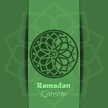 Ramadan Kareem fond festif vert. Félicitations pour le Ramadan sur un fond islamique vert avec un motif arabe traditionnel. Illustration vectorielle