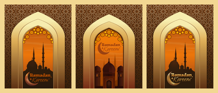 Collection of greeting cards for Ramadan. Islamic design with mosque and traditional Islamic greeting. Ramadan Kareem. Vector illustration Illustration