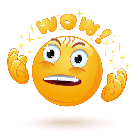 Cute enraptured emotions emoji. Emoticon face surprised. Emoji excited with admiring look and googly eyes saying Wow. Emotion raises his hands in admiration. Vector illustration Stock fotó - 101873404
