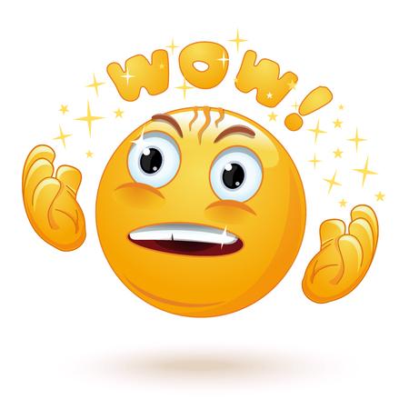 Emoji de emociones embelesadas lindas. Cara de emoticon sorprendida. Emoji emocionado con mirada de admiración y ojos saltones que dicen Wow. La emoción levanta las manos con admiración. Ilustración vectorial