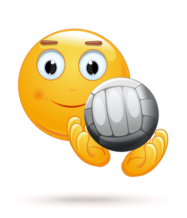 Cheerful smiley catches the ball. Emoticon face playing volleyball. Emoji with ball for playing volleyball. Vector illustration
