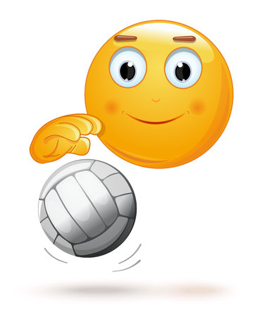 Emoticon face playing volleyball. Cheerful smiley with a ball. Emoji and ball for playing volleyball. Vector illustration