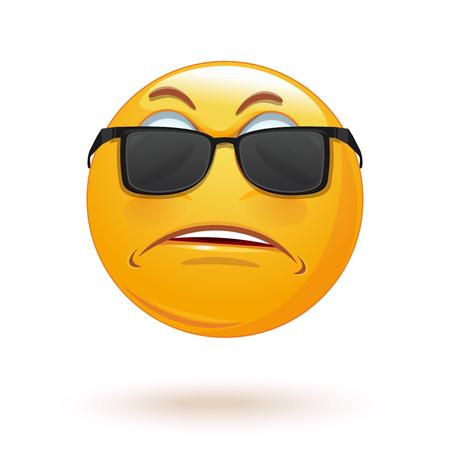 Sad emoticon face in sunglasses. Angry smiley. Hurt and sad emoji. Vector illustration Illustration