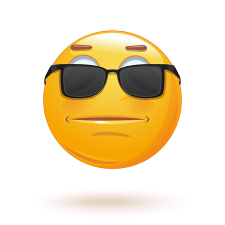 Indifferent emoticon face in sunglasses. Neutral expressionless emoji. Vector illustration
