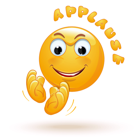 Joyful emoticon applauds. Cheerful emoji claps his hands happily. Joyful smiley claps. Stormy applause. Ovation. Vector illustration isolated on white background