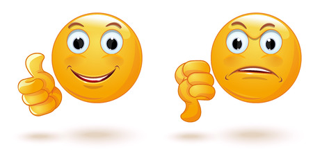 Thumb up and down. Emoticons set demonstrating opposing emotions. Cheerful and sad smiley. Emoji collection showing different gestures. Yes and No. like and dislike. Vector illustration Vettoriali