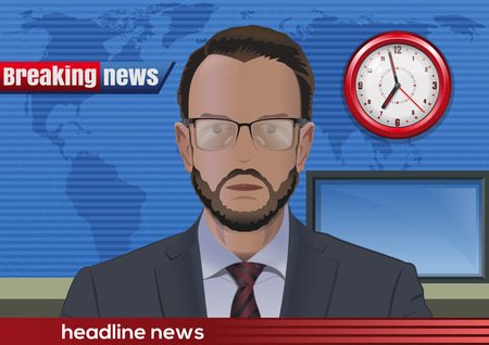 Breaking news. Bearded man in glasses. News announcer in the studio. Vector illustration