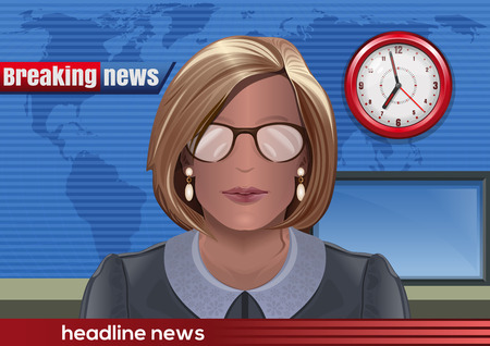 Belangrijk nieuws. Silhouet van een vrouw met een bril. Nieuws-omroeper in de studio. Vector illustratie