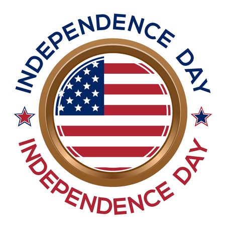Independence Day design. Fourth of July. Round medallion on a chain with an American flag and inscription - Independence Day. Vector illustration Çizim