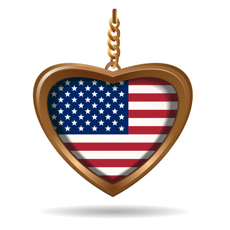 Gold medallion in the shape of a heart with US flag. United States of America flag inside. Vector illustration