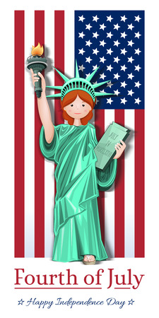 Girl in a Statue of Liberty costume against a star-shaped striped flag. Fourth of July. US Independence Day card. Vector illustration