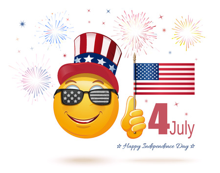 Glad emoticon face in Uncle Sams hat and the US flag in his hand. 4 July. Happy USA Independence Day. Funny emoji celebrates Independence Day. Vector illustration