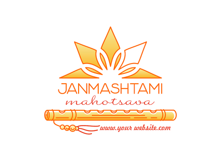 Krihna Janmashtami Mahotsav. Banner for indian festival of janmashtami celebration. Logo concept design. Vector illustration