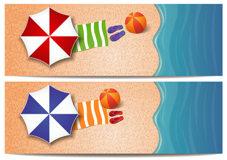 Summer travel banners set with the sea, waves, sand beach, beach umbrellas, towel, ball and flip flops. Vector template for summer design