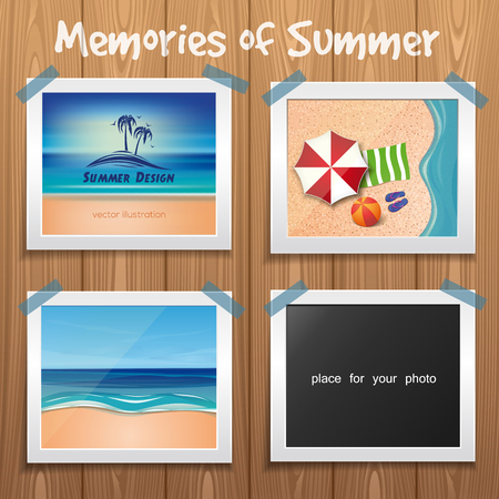 Summer design. Memories of Summer. Sun, sea, palm trees and sand. Wooden board with summer photos. Template for photo album. Vector illustration