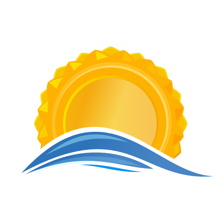 Sun over the sea. Sunrise logo icon. Cartoon sun over sea waves. Vector illustration isolated on white background