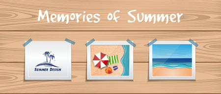 Memories of summer. Summer design set. Photos about summer rest are attached with an adhesive tape to the wooden board. Vector illustration Stock Illustratie