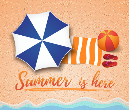 Summer concept design. Top view on sea beach, step-ins, towel and a large inflatable ball. Summer is here. Vector illustration Stock Illustratie