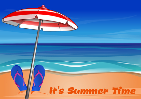 Summer background with the sea, sandy shore, beach umbrella and the inscription - It's Summer Time. Vector illustration