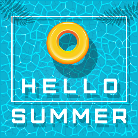 Hello summer. Yellow inflatable swimming circle floats in the sea or in the pool. Summer design. Vector illustration