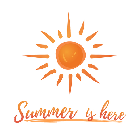 Summer logo design. Sun is above the sea wave and lettering. Summer is here. Vector illustration isolated on white background