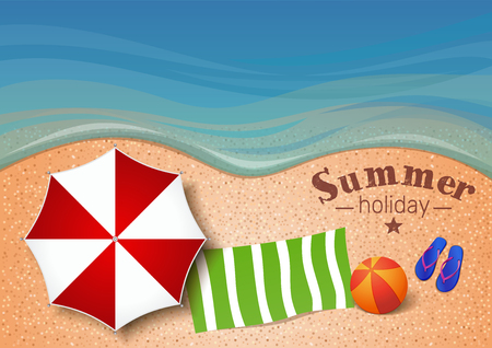 Summer background with  the sea, sand beach, beach umbrella, towel, ball, flip flops and inscription - Summer holiday. Vector illustration