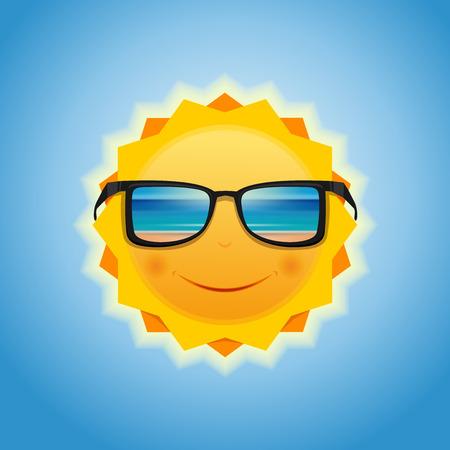 Le soleil en lunettes de soleil, qui reflète la mer et la plage. Soleil souriant avec des lunettes de soleil. Soleil d'été contre le ciel. Illustration vectorielle