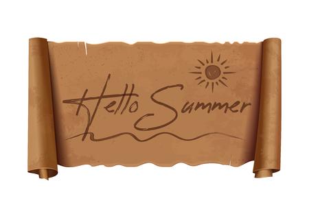 Hello summer lettering design. Vector illustration isolated on white background Illustration