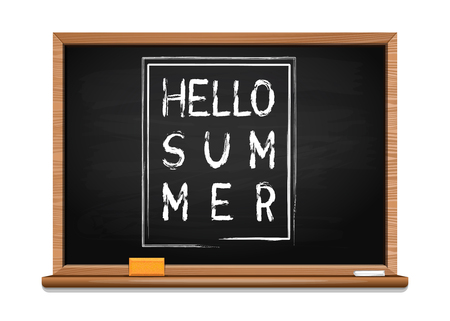 Summer greeting chalk on a blackboard. Hello summer. Inscription on the board. Summer lettering design. Vector illustration isolated on white background