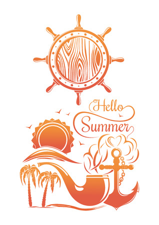 Summer and sea logo design. Hello summer. Vector illustration isolated on white background Illustration