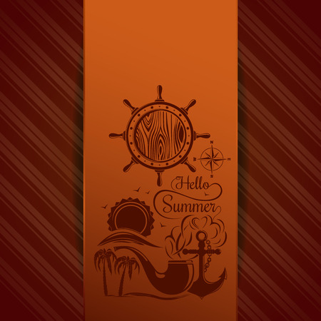 Summer background. Vector illustration with sun over the sea, palm trees, seagull, ships helm, anchor, wind rose, captain smoking pipe and inscription - Hello Summer. Set icons on orange background