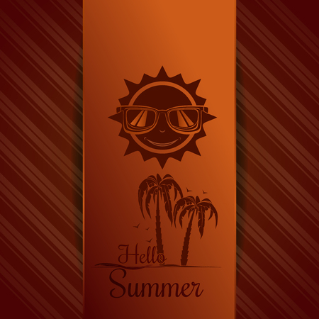 Summer orange background with palm trees and cheerful smiling sun wearing sunglasses. Vector illustration Illustration