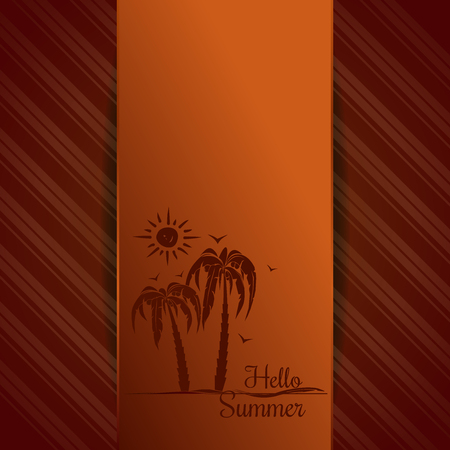 Hello Summer lettering. Summer orange background with palm trees, seagull and sun. Vector illustration Illustration