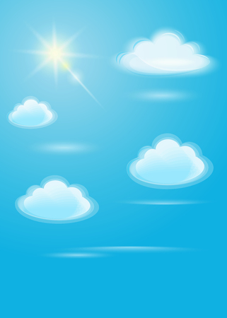 Translucent white clouds and bright sun on a blue sky background. Sunlight special lens flare light effect in clear blue sky. Vector illustration Çizim