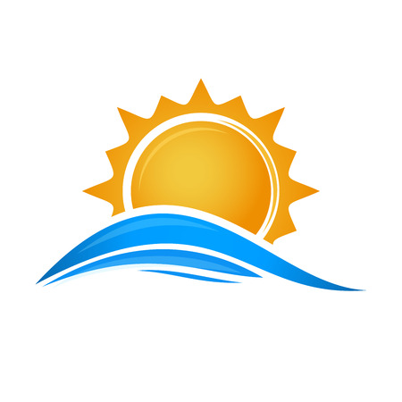 Sun over sea waves. Sun and sea. Sun logo icon isolated on white background. Editable vector illustration