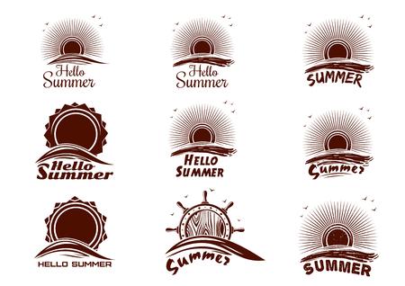 Set of summer icons. Summer   with sun, sea wave, ocean, seagulls, ships wheel. Vector illustration Illustration