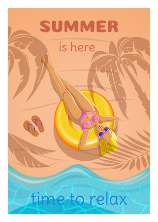 Summer poster in retro style. Cute girl sunbathing on ocean shore. Blonde under the palm trees on the beach. Summer is here. Time to relax. Vector illustration Illustration