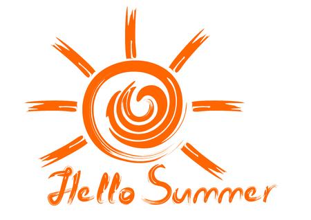 Carelessly drawn sun and inscription. Handwritten orange inscription. Hello summer. Summer concept design.