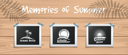 Memories of Summer. Hello summer. Summer design template for your photos. Illustration