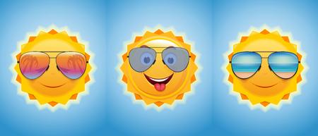 Happy merry sun in sunglasses. Joyful summer suns set. Vector illustration Banque d'images - 114677344