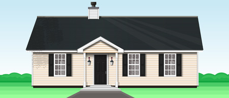 Countryside private house on the nature. One-storey wooden house with a trumpet and three windows. Vector illustration Çizim