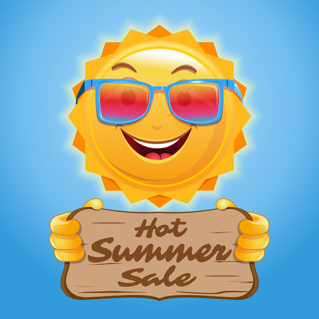 Hot summer sale. Advertising poster design for the summer sale. Happy anthropomorphic sun holds a wooden sign with an inscription. Vector illustration